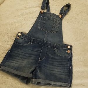 Girls H & M Denim Overall Shorts